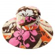 Flowery multicolor pattern floppy hat — ストック写真