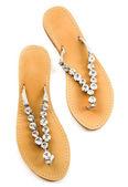 Big carved crystals flip flop sandals — Stock Photo