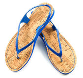 Cork soled blue flip flop sandals — Stock Photo