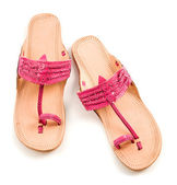 Pink leather flip flop sandals — Stock Photo