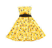 Flowery evase bateau yellow dress — Stock Photo