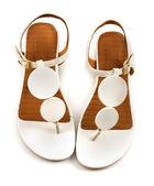 Vintage circles white flip flop sandals — Stock Photo