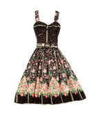 Flowery evase sweetheart dress — Stock Photo