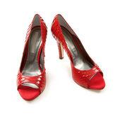 Python scales red peep toe stilettos — Stock Photo