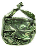Green crackle iridescent metallized leather purse — Stock Photo