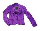 Purple satin blazer with bow tie and crystal buttons — Stock Photo
