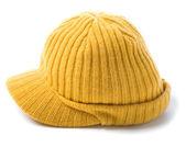 Sarı örgü şapka bere — Stok fotoğraf