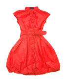Red belted new look buble sleeveless dress — Stock Photo