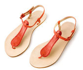 Red metallized leather flip flop sandals — Stock Photo