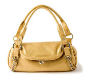 Elegant golden leather chained handbag — Stock Photo