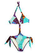 Halter multicolor polka dots monokini — Stock Photo