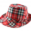 Red tartan fedora hat - Stock Photo