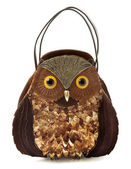Owl imitation leather tote — Stock Photo