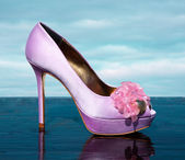 Lilac fashionable stiletto peep toe with marine golden details — Stock Photo