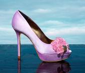 Lilac fashionable stiletto peep toe with marine golden details — Stock Photo