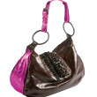 Metallized patent leather tote with frilly beaded carved crystal - Stock Photo