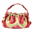 Stock Photo: Flowery buckled red leather tote