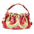 Flowery buckled red leather tote — ストック写真