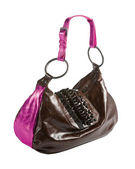 Metallized patent leather tote with frilly beaded carved crystal — Stock Photo