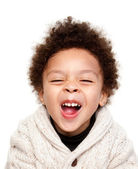 Laughing afro hairstyle child — Stock Photo