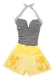 Sweetheart halter cute striped fashion look — Stock Photo