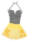 Sweetheart halter cute striped fashion look — Stock Photo