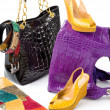 snake leather fashion accesories still life composition — Stock Photo
