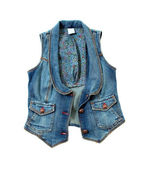 Blue denim vest with flowers lining and bronze ornated buttons — Stock Photo