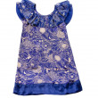 Porcelain like floral pattern draped neckline blue dress — Stock Photo