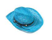 Blue raffia woven fedora hat with leather beaded knotted cord — Stock Photo