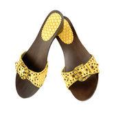 змея деревянный клин желтые кожаные сандалии — Стоковое фото