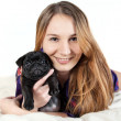 Young woman with the dog — Stock Photo