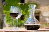 Red wine in a wine carafe and a two wine glasses in the vineyard — Stock Photo