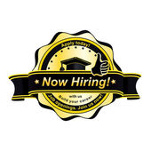 Now Hiring. Apply Today! black yellow round label stamp — Stock Vector