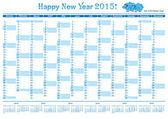 Calendar 2015  English Organizer — Stock Vector