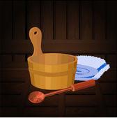 Atributos de sauna — Vector de stock