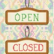 Open And Closed Door Signs Board embroidery effect — Stock Vector