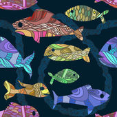 Seamless pattern with ornated fishes — Stockvektor