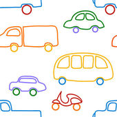 Vector seamless pattern with cars and urban traffic. — Stock Vector