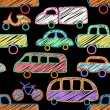 Vector seamless pattern with cars — Stock Vector