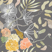 Trendy naadloze patroon met haven thema, watecolor planten — Stockvector