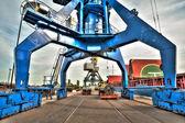 High Dynamic Range (HDR) crane , factory, port — Stock Photo