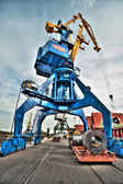 High Dynamic Range (HDR) crane , factory, port — Stock Photo