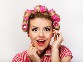 Portrait of beautiful girl model in pin up — Stock Photo