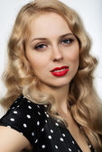 Beautiful blonde girl portrait on white background close-up — Stock Photo