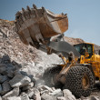 heavy building bulldozer quarry,car — Stock Photo