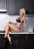 Fashion shoot of young blonde girl in lingerie — Foto de Stock