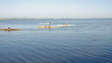 Children kayaking in the river — Stock Video
