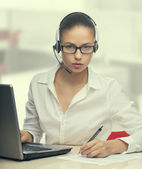 Businesswoman talking on the phone,operator — Stock Photo