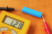 Measuring with digital multimeter — Stock Photo